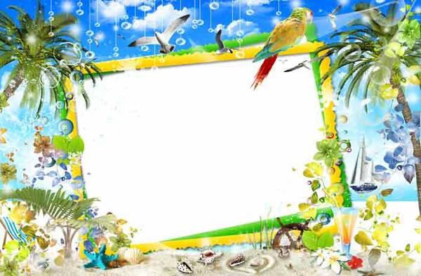Летняя морская открытка рамка для фотошопа скачать бесплатно